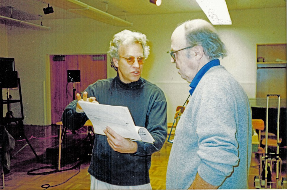 David Arden with Earle Brown in recording session