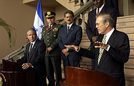 President Ricardo Maduro with U.S. Secretary of Defense Donald Rumsfeld in August 2003 Defense.gov News Photo 0308020-F-2828D-168.jpg