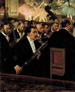 The Canary Trainer - L'orchestre de l'opéra by Edgar Degas, 1870. Though painted before the events of this novel, the fictional Degas sketch that alerts Irene Adler to Holmes' existence was made in the same building as this work.