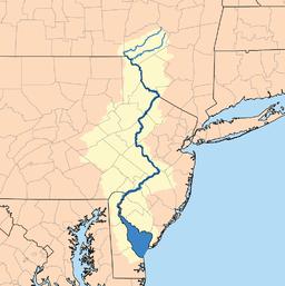 Delawarefloden (mørkeblå) og dens afløbsområde (gult).