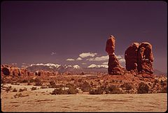 Delicate Arch, the Most Famous Natural Arch in the Park. It Is in a Superb Raised and Isolated Location, Reached by a One - and - a - Half Mile Foot Trail. behind It, to the East, Are the Lasal Mountains, 05-1972 (3814167697).jpg
