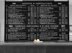 Schedule - A train schedule informs travelers of the trains going to various locations, and indicates the times of departure.