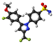 Ball-and-stick model of the deracoxib molecule