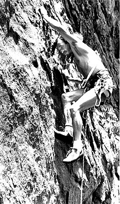 "Derek Hersey, on the climb ""the Bulge"" in Eldorado Canyon, Colorado.JPG"