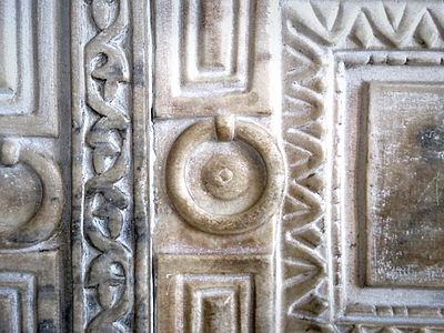 Detail of Sculptural Relief on the Marble Door of the Hagia Sophia in Istanbul, Turkey