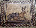 Detail of the Gladiator mosaic floor depicting an animal fight, 3rd century AD, Römerhalle, Bad Kreuznach, Germany (8196099043).jpg