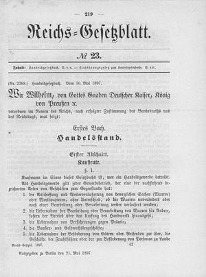 Handelsgesetzbuch - Image: Deutsches Reichsgesetzblatt 1897 023 219