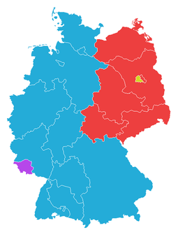 West Germany (blue) comprised the Western Allies' zones, excluding the Saarland (purple); the Soviet zone, East Germany (red) surrounded West Berlin (yellow). Deutschland Bundeslaender 1949.png