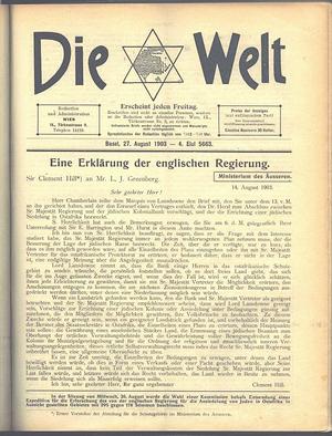 Die Welt (Herzl) - A 1903 edition of Die Welt