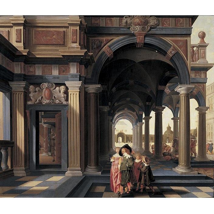 File:Dirck van Delen - Elegant Figures in a Loggia - WGA6279.jpg