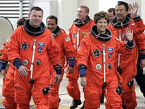 Eileen Collins - Mission Commander Collins and STS-114 crew on their way to launch pad.