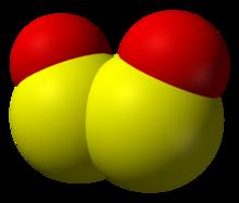 rikkidioksidimolekyylin tilaa täyttävä malli