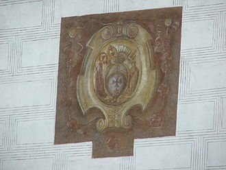 Knights of the Cross with the Red Star - A fresco on the facade of Dobřichovice Castle showing the coat of arms of the Knights of the Cross with the Red Star