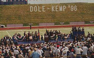 Dennis Vacco - Dennis Vacco (Seated on main stage, front, far left end) at 1996 Dole-Kemp Rally at the University at Buffalo, N.Y.