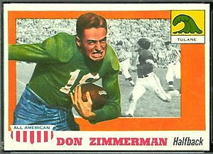 Don Zimmerman (halfback) - Zimmerman depicted on a football card in the 1950s