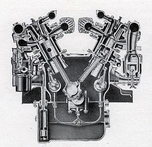 daimler double-six (v12) 50hp sleeve-valve engine 1927-30 transverse section
