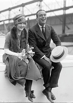 Actors Douglas Fairbanks and Mary Pickford wearing fashions of the early 1920s.