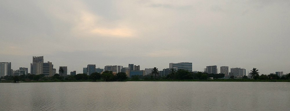 Panoramic view of the Down town Sector V one of the major IT hubs of Kolkata as seen from the lakes surrounding Bidhannagar. Major Buildings such as Technopolis, Godrej Waterside, TCS Lords, Eden and Wanderers Park, Gobsyn Crystal, South City Pinnacle, RDB Boulevard, West Bengal Electronics Industry Development Corporation (WEBEL) Bhawan can be seen.