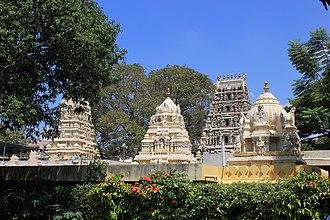 Kote Venkataramana Temple, Bangalore - Gopura and Shikhara of the Kote Venkataramana temple in Bangalore