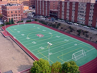 Duquesne Dukes - McCloskey Field, remodeled in 2012, is bordered by a four-lane track. This, however, is an outdated photo.