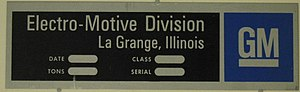 Electro-Motive Diesel - Builder's plate of GM's then Electro-Motive Division