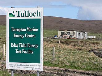 Renewable energy in Scotland - European Marine Energy Centre Tidal power test site on Eday under construction