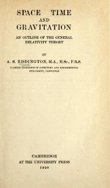 Eddington A. Space Time and Gravitation. 1920.djvu