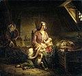 Een rijke dame bezoekt een arm huisgezin Rijksmuseum SK-A-1832.jpeg