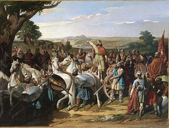 History of Spain - Visigothic King Roderic haranguing his troops before the Battle of Guadalete