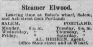 Elwood (sternwheeler) - Advertisement for Elwood, 1892.