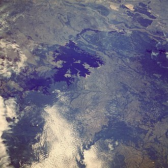 Guri Dam - The dam and reservoir as seen from space.