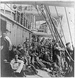 Crowded Lower Deck of Emigrant Ship