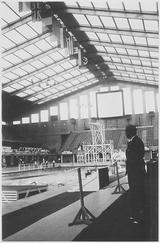 Wembley Arena - Empire Pool Wembley on the first day of the 1938 European Aquatics Championships.