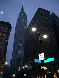 Empire state building wikipedia night view from the same street corner in color the empire state building fandeluxe Gallery