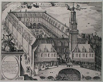 A 17th-century engraving depicting the Amsterdam Stock Exchange (Amsterdam's old bourse, a.k.a. Beurs van Hendrick de Keyser in Dutch), built by Hendrick de Keyser (c. 1612). The Amsterdam Stock Exchange was the world's first official (formal) stock exchange when it began trading the VOC's freely transferable securities, including bonds and shares of stock. Engraving depicting the Amsterdam Stock Exchange, built by Hendrik de Keyser c. 1612.jpg