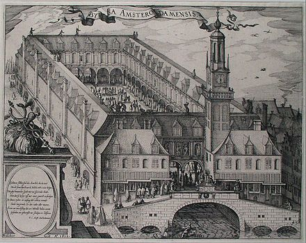 A 17th-century engraving depicting the Amsterdam Stock Exchange (Amsterdam's old bourse, a.k.a. Beurs van Hendrick de Keyser in Dutch), built by Hendrick de Keyser (c. 1612). The Amsterdam Stock Exchange (now Euronext Amsterdam) was the world's first official (formal) stock exchange when it began trading the VOC's freely transferable securities, including bonds and shares of stock. Engraving depicting the Amsterdam Stock Exchange, built by Hendrik de Keyser c. 1612.jpg