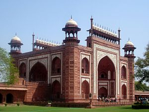 Chamfer - The Great gate (Darwaza-i rauza) gateway to the Taj Mahal, having chamfered tower corners