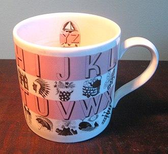 Eric Ravilious - Alphabet mug by Eric Ravilious, transfer on Wedgwood creamware, 1937.