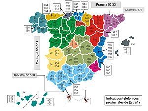 Telephone numbers in Spain - Image: España prefijos
