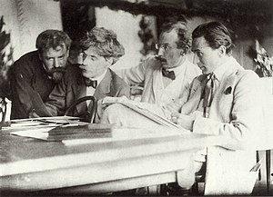 "Frank Eugene - ""Eugene, Stieglitz, Kühn and Steichen Admiring the Work of Eugene,"" by Frank Eugene from 1907.  From left to right are Eugene, Alfred Stieglitz, Heinrich Kühn, and Edward Steichen."