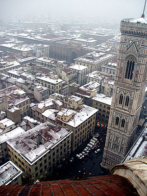 History of Florence - A rare snow-covered Florence, with the towering campanile of the Cathedral of Florence to the right
