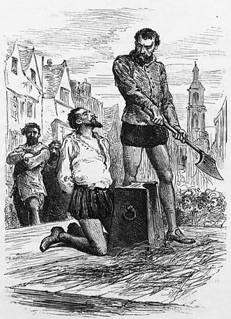 Raleigh just before he was beheaded - an illustration from circa 1860 Execution of Sir Walter Raleigh.jpg