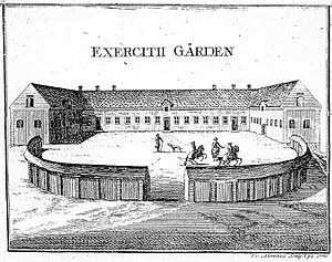 The Exercise Yard in ca 1770. Contemporary engraving