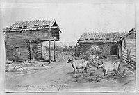 Föreställande några byggnader i Ursviken nära Skellefteå. Fritz von Dardel, 1868 - Nordiska Museet - NMA.0056043.jpg