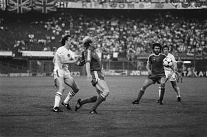1982 European Cup Final - Des Bremner, Dieter Hoeneß, Paul Breitner and Kenny Swain in action