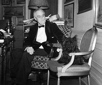 Fala (dog) - Franklin D. Roosevelt and Fala in the White House study (December 20, 1941)