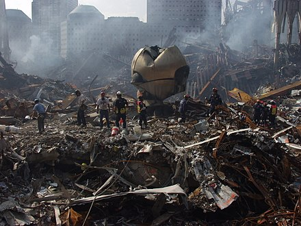 The Sphere at Ground Zero, now exhibited at Liberty Park FEMA - 4049 - Photograph by Michael Rieger taken on 09-21-2001 in New York.jpg