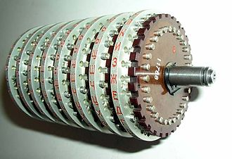 Fialka - Rotor stack removed from the machine, showing the 30 contact pins.