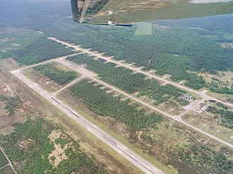 Sperenberg Airfield - The now abandoned but extensive facilities of Sperenberg Airfield, as seen from the air in 2002.