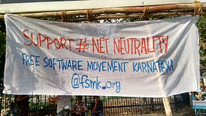 Free Software Movement of Karnataka - FSMK's walkathon in support of NetNeutrality Banner